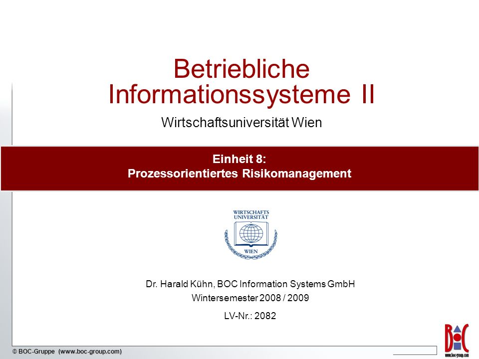 - 52 - © BOC-Gruppe (www.boc-group.com) SOX-Report: Risiko-Kontroll-Matrix (Beispiel)