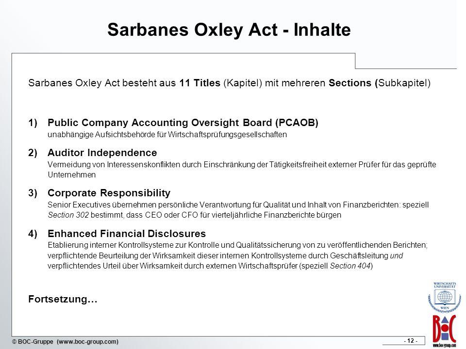 - 12 - © BOC-Gruppe (www.boc-group.com) Sarbanes Oxley Act - Inhalte Sarbanes Oxley Act besteht aus 11 Titles (Kapitel) mit mehreren Sections (Subkapitel) 1)Public Company Accounting Oversight Board (PCAOB) unabhängige Aufsichtsbehörde für Wirtschaftsprüfungsgesellschaften 2)Auditor Independence Vermeidung von Interessenskonflikten durch Einschränkung der Tätigkeitsfreiheit externer Prüfer für das geprüfte Unternehmen 3)Corporate Responsibility Senior Executives übernehmen persönliche Verantwortung für Qualität und Inhalt von Finanzberichten: speziell Section 302 bestimmt, dass CEO oder CFO für vierteljährliche Finanzberichte bürgen 4)Enhanced Financial Disclosures Etablierung interner Kontrollsysteme zur Kontrolle und Qualitätssicherung von zu veröffentlichenden Berichten; verpflichtende Beurteilung der Wirksamkeit dieser internen Kontrollsysteme durch Geschäftsleitung und verpflichtendes Urteil über Wirksamkeit durch externen Wirtschaftsprüfer (speziell Section 404) Fortsetzung…