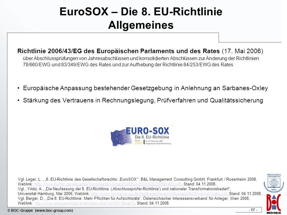 - 17 - © BOC-Gruppe (www.boc-group.com) EuroSOX – Die 8.