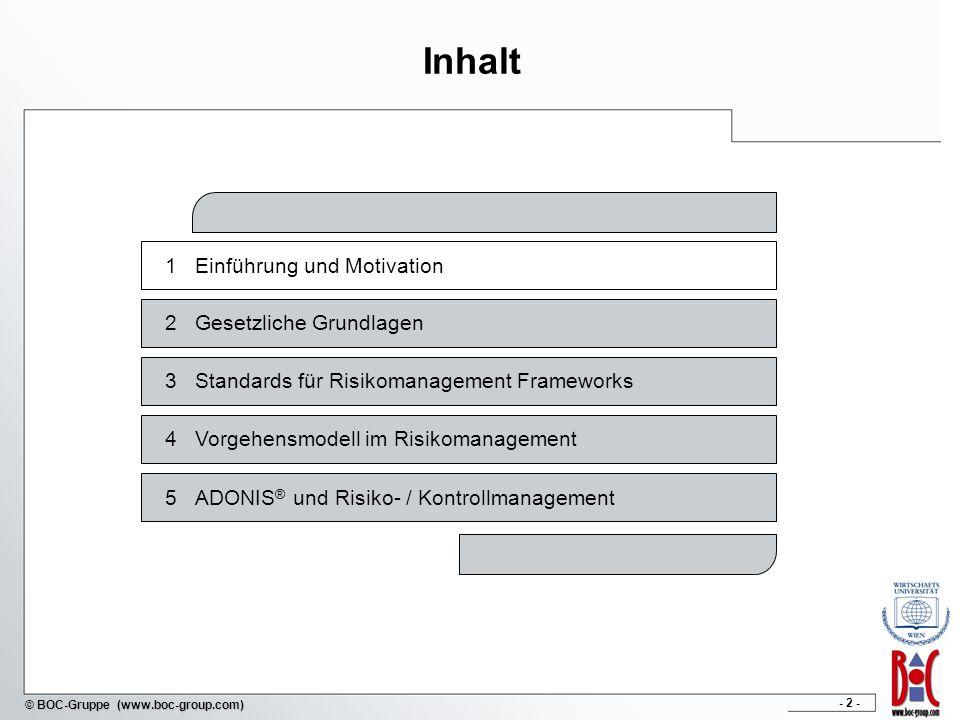 - 2 - © BOC-Gruppe (www.boc-group.com) Inhalt 1Einführung und Motivation 2Gesetzliche Grundlagen 4Vorgehensmodell im Risikomanagement 3Standards für R
