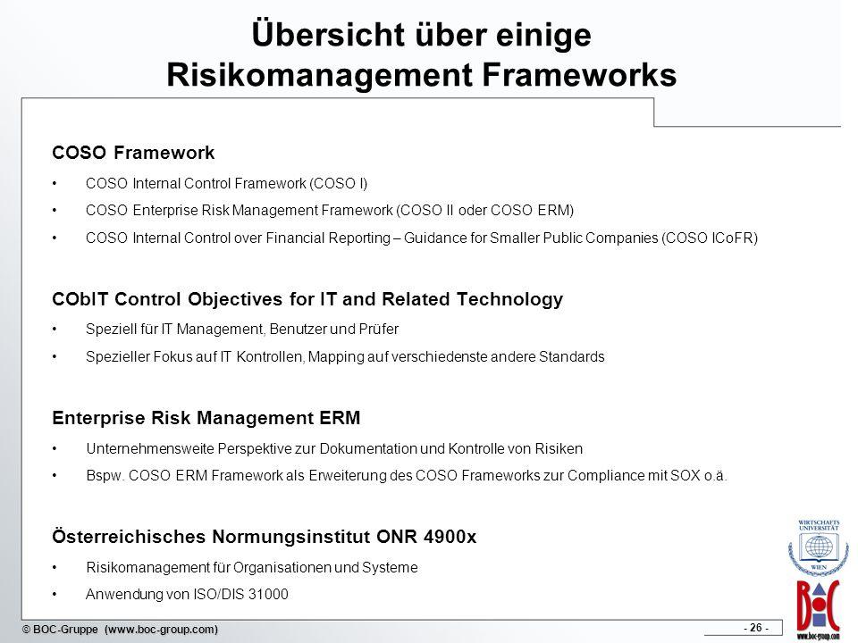 - 26 - © BOC-Gruppe (www.boc-group.com) Übersicht über einige Risikomanagement Frameworks COSO Framework COSO Internal Control Framework (COSO I) COSO