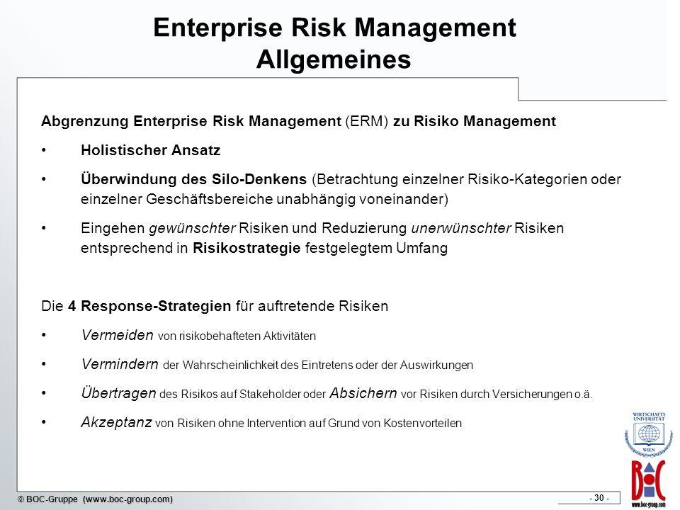 - 30 - © BOC-Gruppe (www.boc-group.com) Enterprise Risk Management Allgemeines Abgrenzung Enterprise Risk Management (ERM) zu Risiko Management Holistischer Ansatz Überwindung des Silo-Denkens (Betrachtung einzelner Risiko-Kategorien oder einzelner Geschäftsbereiche unabhängig voneinander) Eingehen gewünschter Risiken und Reduzierung unerwünschter Risiken entsprechend in Risikostrategie festgelegtem Umfang Die 4 Response-Strategien für auftretende Risiken Vermeiden von risikobehafteten Aktivitäten Vermindern der Wahrscheinlichkeit des Eintretens oder der Auswirkungen Übertragen des Risikos auf Stakeholder oder Absichern vor Risiken durch Versicherungen o.ä.