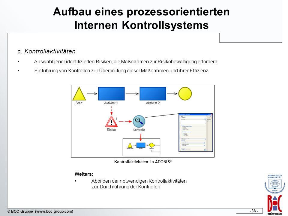 - 38 - © BOC-Gruppe (www.boc-group.com) Aufbau eines prozessorientierten Internen Kontrollsystems c. Kontrollaktivitäten Auswahl jener identifizierten