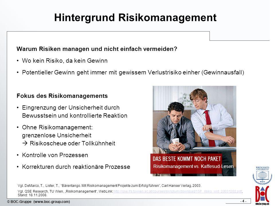 - 35 - © BOC-Gruppe (www.boc-group.com) Vorgehensmodell im Risikomanagement Vorgehensmodell im prozessorientierten Risikomanagement Definition der Risikostrategie Erhebung der Risiken und Kontrollen Identifikation von generischen Risiken und Kontrollen Filtern von branchen- oder unternehmensspezifischen Risiken und Kontrollen Identifikation der Eintrittswahrscheinlichkeit und der zu erwartenden Auswirkungen Klassifizierung der Risiken und Kontrollen Abbilden der Risiken und Kontrollen Zuweisung zu bestimmten Geschäftsprozessen und Aktivitäten Verknüpfung der Risiken mit sinnvollen Kontrollen Kontinuierliche Evaluierung und Verbesserung Identifikation und Modellierung eines Kontrollprozesses Evaluierung der bestehenden Risiken und Kontrollen auf Effektivität und Effizienz Kontinuierliche Überwachung und Verbesserung