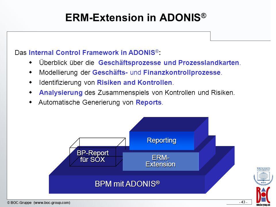 - 43 - © BOC-Gruppe (www.boc-group.com) ERM-Extension in ADONIS ® BPM mit ADONIS ® BP-Report für SOX ERM-Extension Reporting Das Internal Control Framework in ADONIS ® : Überblick über die Geschäftsprozesse und Prozesslandkarten.