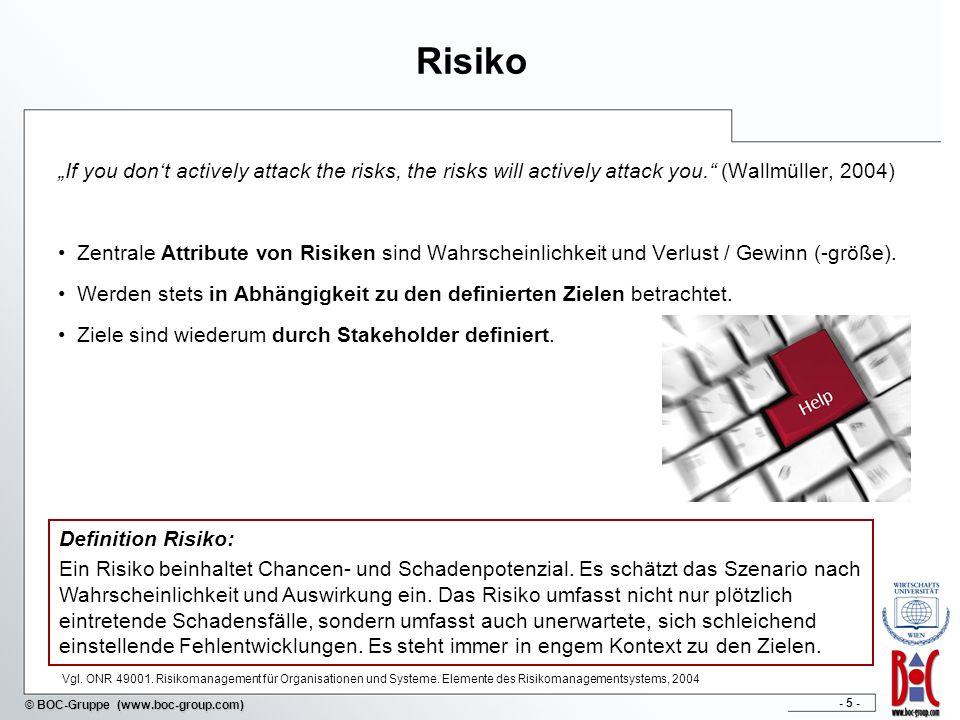 - 46 - © BOC-Gruppe (www.boc-group.com) Bewertung der Risiken Risikobewertung von gering bis bedrohlich Risikowahr- scheinlichkeit Risikobewertung mit Visualisierung der Stufen: E(1) – gering D(2) – leicht erhöht C(3) – mittel B(4) – hoch A(5) – bedrohlich