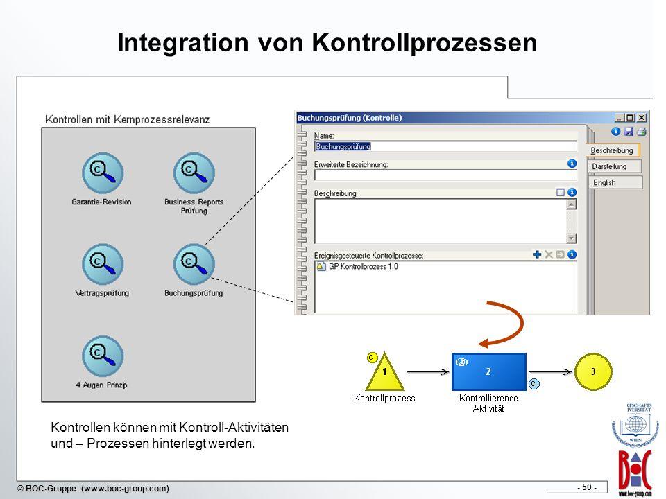 - 50 - © BOC-Gruppe (www.boc-group.com) Integration von Kontrollprozessen Kontrollen können mit Kontroll-Aktivitäten und – Prozessen hinterlegt werden