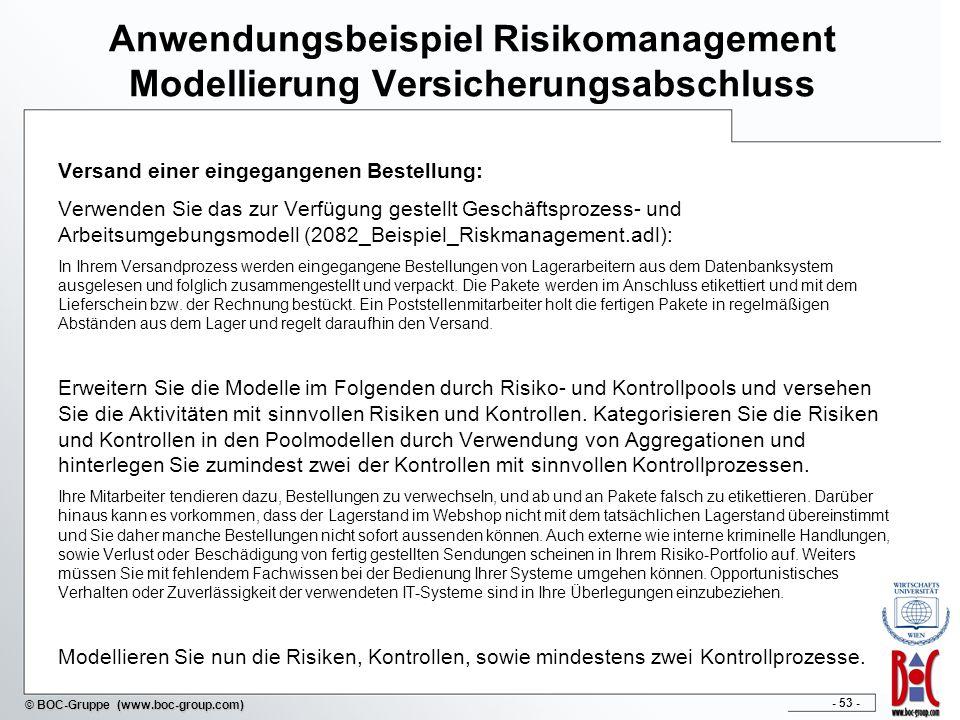 - 53 - © BOC-Gruppe (www.boc-group.com) Anwendungsbeispiel Risikomanagement Modellierung Versicherungsabschluss Versand einer eingegangenen Bestellung
