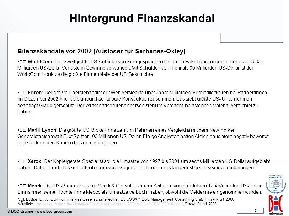 - 8 - © BOC-Gruppe (www.boc-group.com) Eskalation Bankenkrise 2007/2008 Immobilien- und Finanzkrise 2007 / 2008 Vergabe von Billig-Krediten zur Immobilienfinanzierung Verschleierung oder schlechte Identifikation tatsächlicher Risiken Streuung der Risiken durch Verteilung auf diverse Finanz-Derivate Nach ersten gravierenden Verlusten vermehrte Meldungen: Hedge Fonds und Banken halten große Anteile an Sicherheiten in Form von Hypotheken auf Immobilien (mitunter verpackt in gekauften Finanz-Derivaten) Verfall der Immobilienpreise und gleichzeitig Hoch bei Kündigungen von Hypotheken Rekord-Rückgang am Immobiliensektor mit starken Auswirkungen auf Finanzsektor Ankündigung bedenklicher Liquiditätsprobleme u.a.