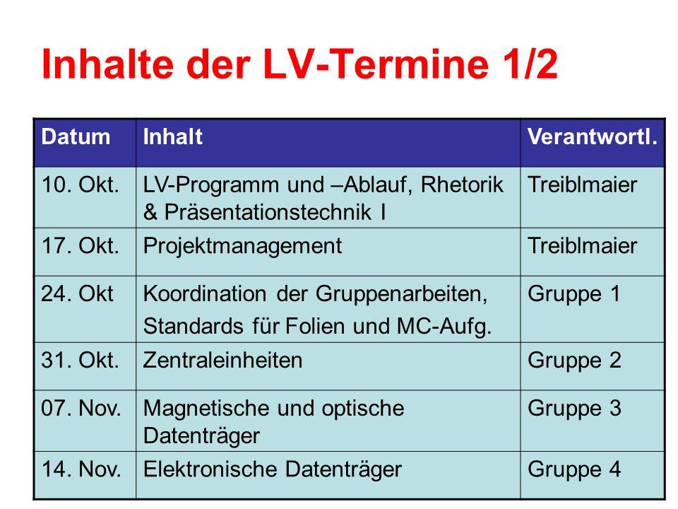 Inhalte der LV-Termine 1/2 DatumInhaltVerantwortl.