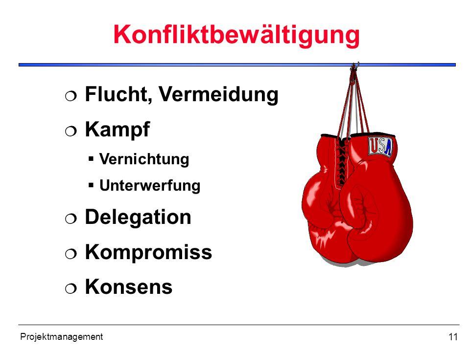11 Projektmanagement Konfliktbewältigung Flucht, Vermeidung Kampf Vernichtung Unterwerfung Delegation Kompromiss Konsens