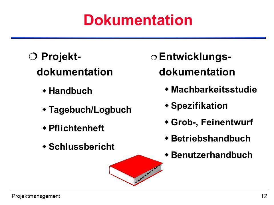 12 Projektmanagement Dokumentation Projekt- dokumentation Handbuch Tagebuch/Logbuch Pflichtenheft Schlussbericht Entwicklungs- dokumentation Machbarke