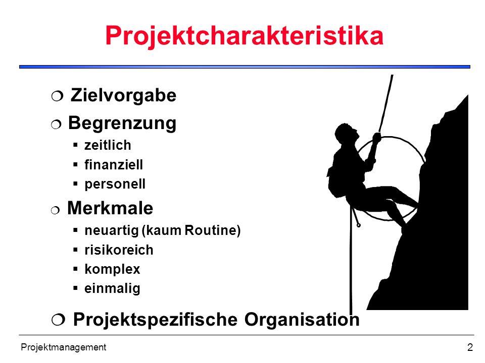 2 Projektcharakteristika Zielvorgabe Begrenzung zeitlich finanziell personell Merkmale neuartig (kaum Routine) risikoreich komplex einmalig Projektspe