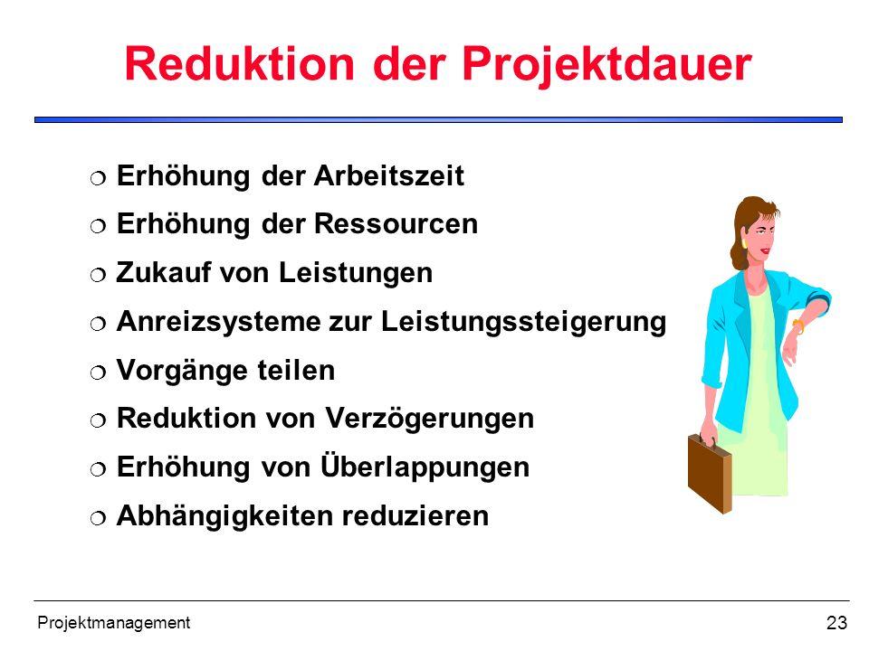 23 Projektmanagement Reduktion der Projektdauer Erhöhung der Arbeitszeit Erhöhung der Ressourcen Zukauf von Leistungen Anreizsysteme zur Leistungsstei