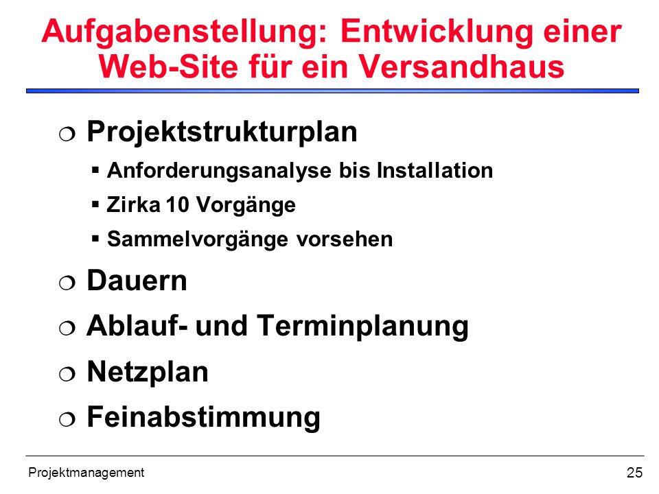 25 Projektmanagement Aufgabenstellung: Entwicklung einer Web-Site für ein Versandhaus Projektstrukturplan Anforderungsanalyse bis Installation Zirka 1