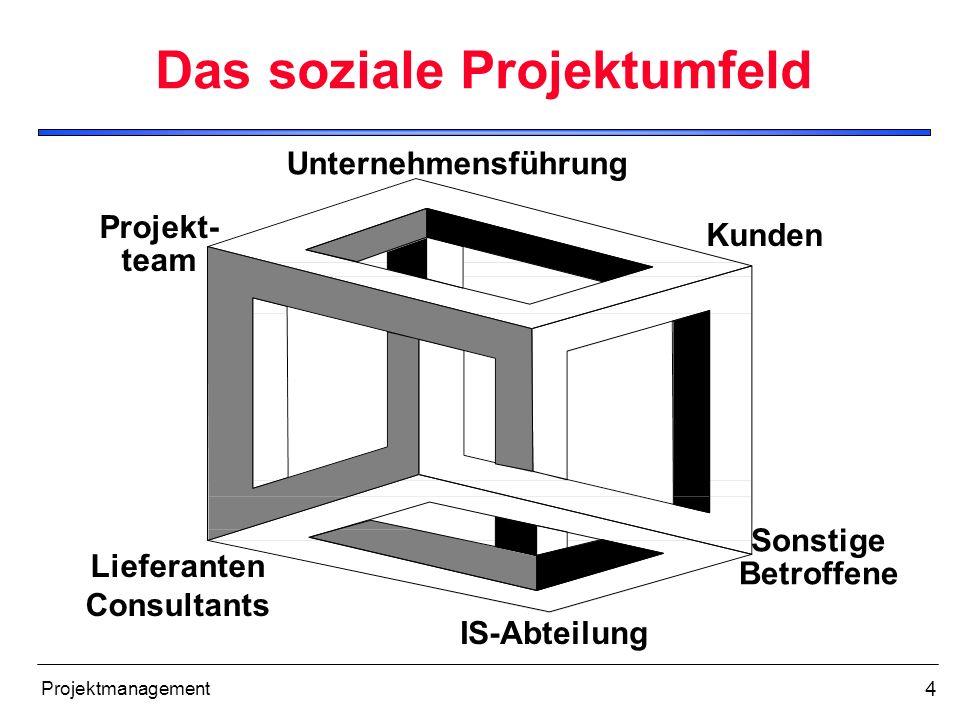 4 Projektmanagement Das soziale Projektumfeld Unternehmensführung Lieferanten Consultants Projekt- team Sonstige Betroffene Kunden IS-Abteilung