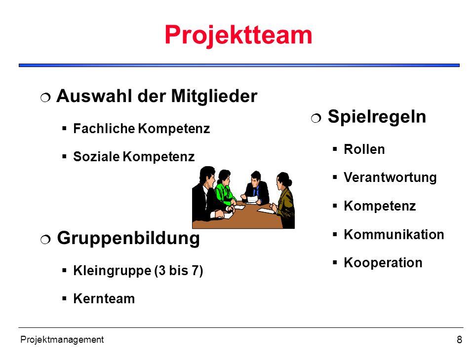 8 Projektmanagement Projektteam Gruppenbildung Kleingruppe (3 bis 7) Kernteam Spielregeln Rollen Verantwortung Kompetenz Kommunikation Kooperation Aus