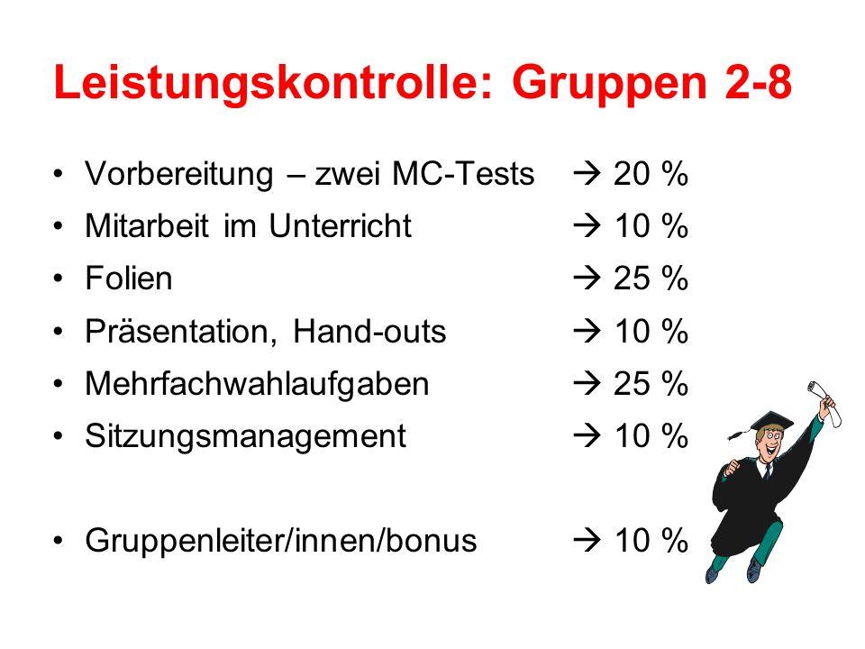 Leistungskontrolle: Gruppen 2-8 Vorbereitung – zwei MC-Tests 20 % Mitarbeit im Unterricht 10 % Folien 25 % Präsentation, Hand-outs 10 % Mehrfachwahlaufgaben 25 % Sitzungsmanagement 10 % Gruppenleiter/innen/bonus 10 %