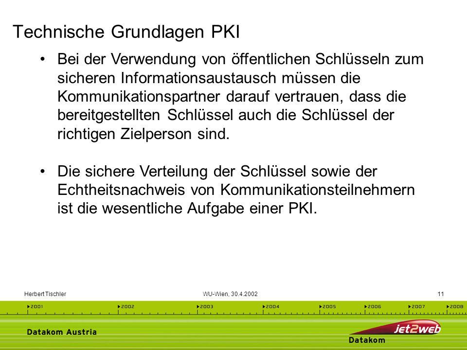 Herbert Tischler WU-Wien, 30.4.200211 Bei der Verwendung von öffentlichen Schlüsseln zum sicheren Informationsaustausch müssen die Kommunikationspartn