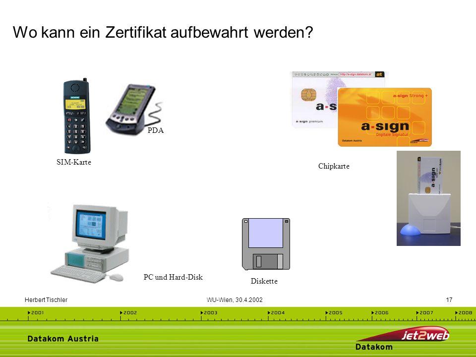 Herbert Tischler WU-Wien, 30.4.200217 Wo kann ein Zertifikat aufbewahrt werden? PC und Hard-Disk Diskette Chipkarte SIM-Karte PDA