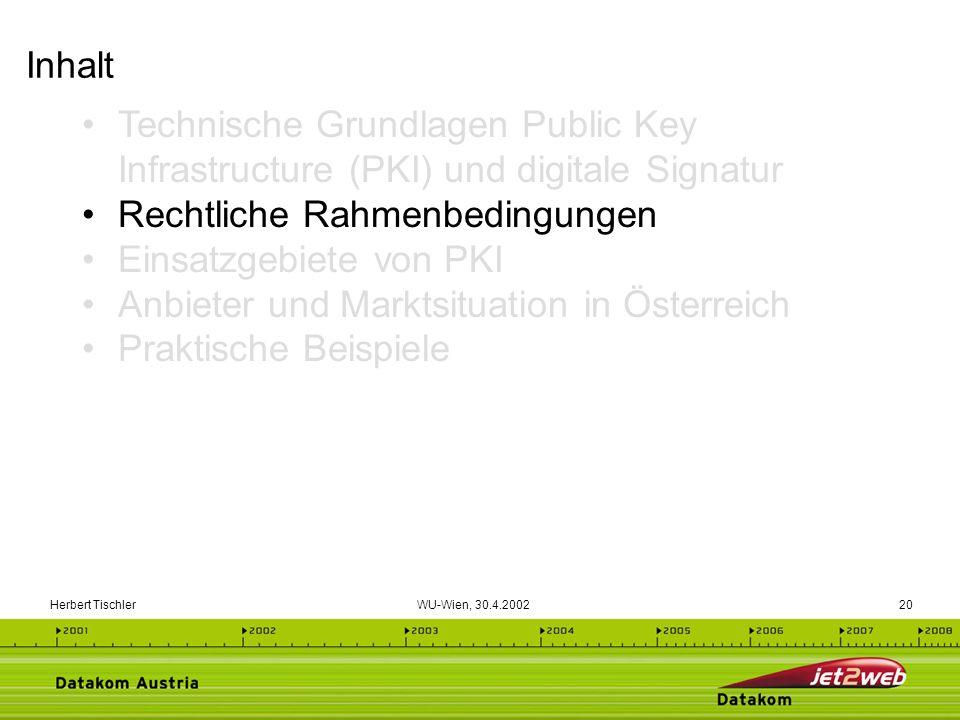 Herbert Tischler WU-Wien, 30.4.200220 Technische Grundlagen Public Key Infrastructure (PKI) und digitale Signatur Rechtliche Rahmenbedingungen Einsatz