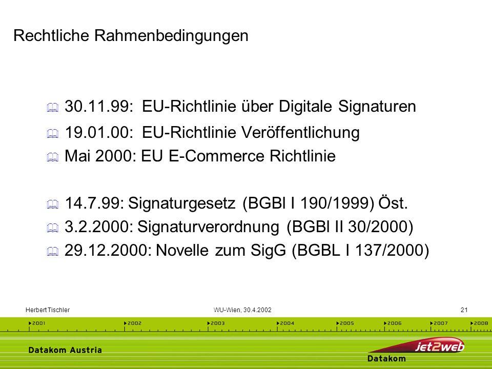 Herbert Tischler WU-Wien, 30.4.200221 30.11.99: EU-Richtlinie über Digitale Signaturen 19.01.00: EU-Richtlinie Veröffentlichung Mai 2000: EU E-Commerc