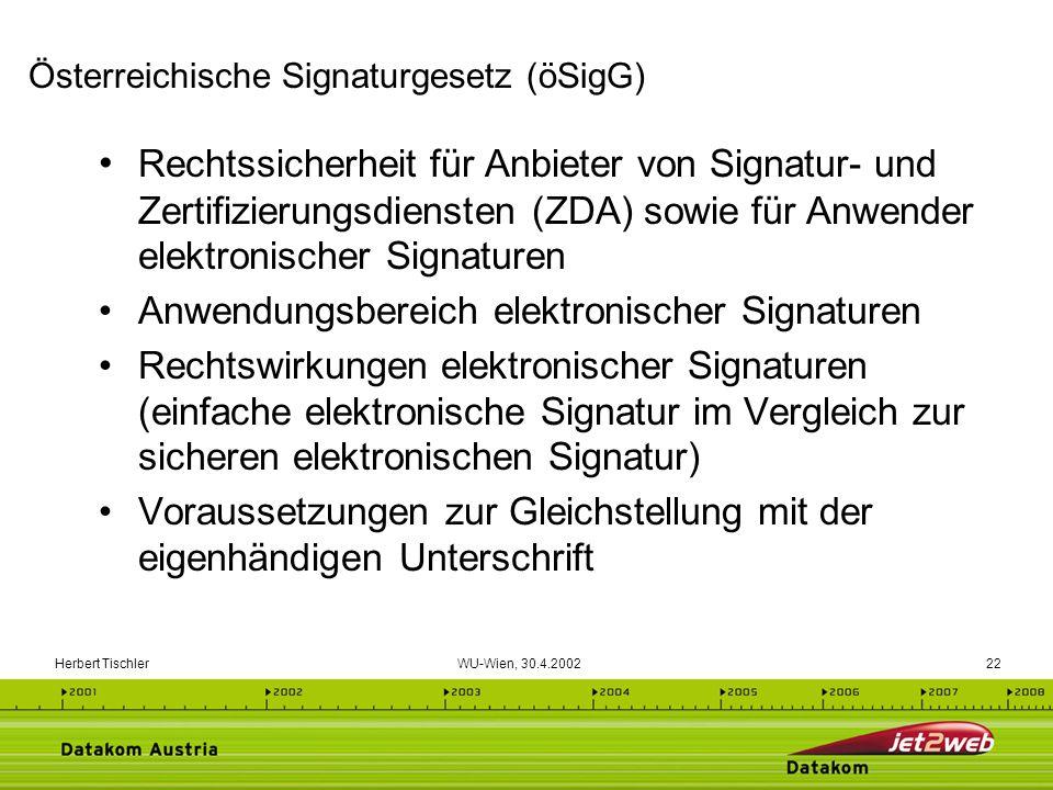 Herbert Tischler WU-Wien, 30.4.200222 Rechtssicherheit für Anbieter von Signatur- und Zertifizierungsdiensten (ZDA) sowie für Anwender elektronischer