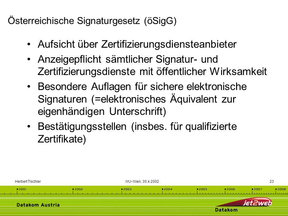 Herbert Tischler WU-Wien, 30.4.200223 Aufsicht über Zertifizierungsdiensteanbieter Anzeigepflicht sämtlicher Signatur- und Zertifizierungsdienste mit