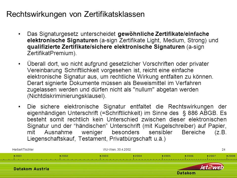 Herbert Tischler WU-Wien, 30.4.200224 Das Signaturgesetz unterscheidet gewöhnliche Zertifikate/einfache elektronische Signaturen (a-sign Zertifikate L