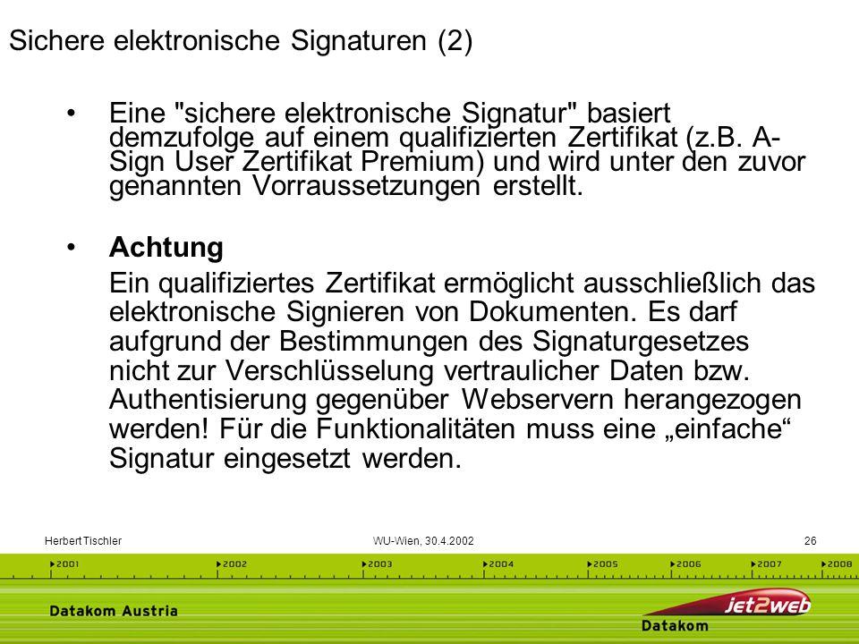 Herbert Tischler WU-Wien, 30.4.200226 Eine
