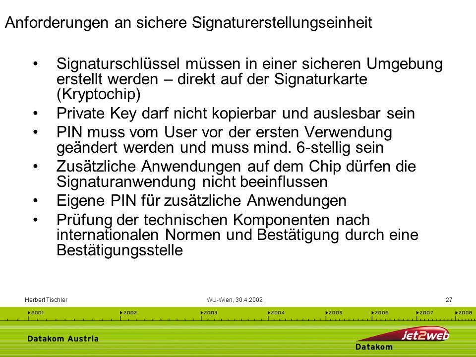 Herbert Tischler WU-Wien, 30.4.200227 Signaturschlüssel müssen in einer sicheren Umgebung erstellt werden – direkt auf der Signaturkarte (Kryptochip)