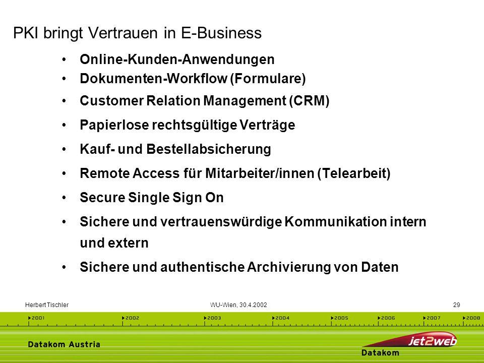 Herbert Tischler WU-Wien, 30.4.200229 Online-Kunden-Anwendungen Dokumenten-Workflow (Formulare) Customer Relation Management (CRM) Papierlose rechtsgü