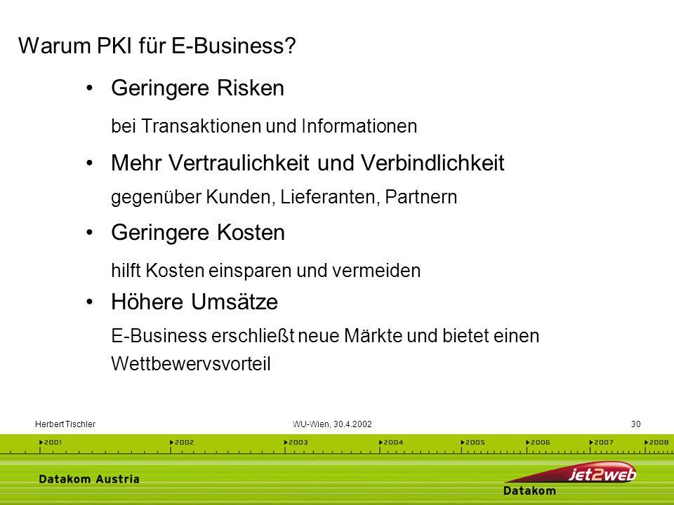 Herbert Tischler WU-Wien, 30.4.200230 Geringere Risken bei Transaktionen und Informationen Mehr Vertraulichkeit und Verbindlichkeit gegenüber Kunden,