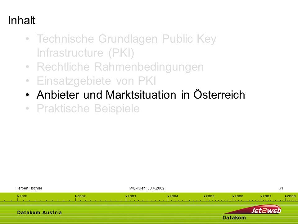 Herbert Tischler WU-Wien, 30.4.200231 Technische Grundlagen Public Key Infrastructure (PKI) Rechtliche Rahmenbedingungen Einsatzgebiete von PKI Anbiet