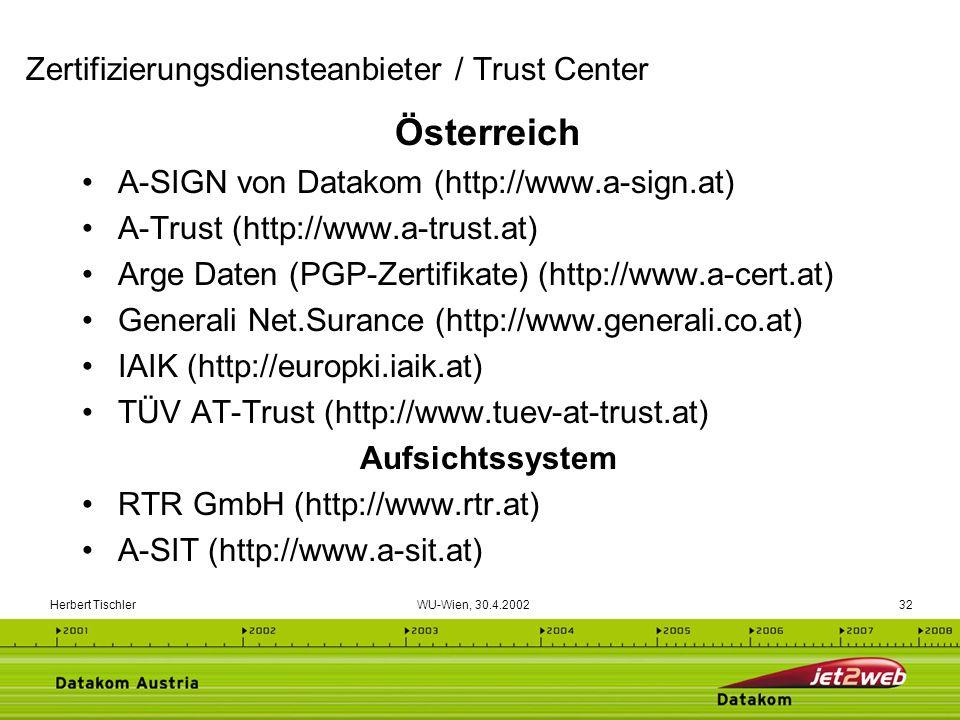 Herbert Tischler WU-Wien, 30.4.200232 Österreich A-SIGN von Datakom (http://www.a-sign.at) A-Trust (http://www.a-trust.at) Arge Daten (PGP-Zertifikate