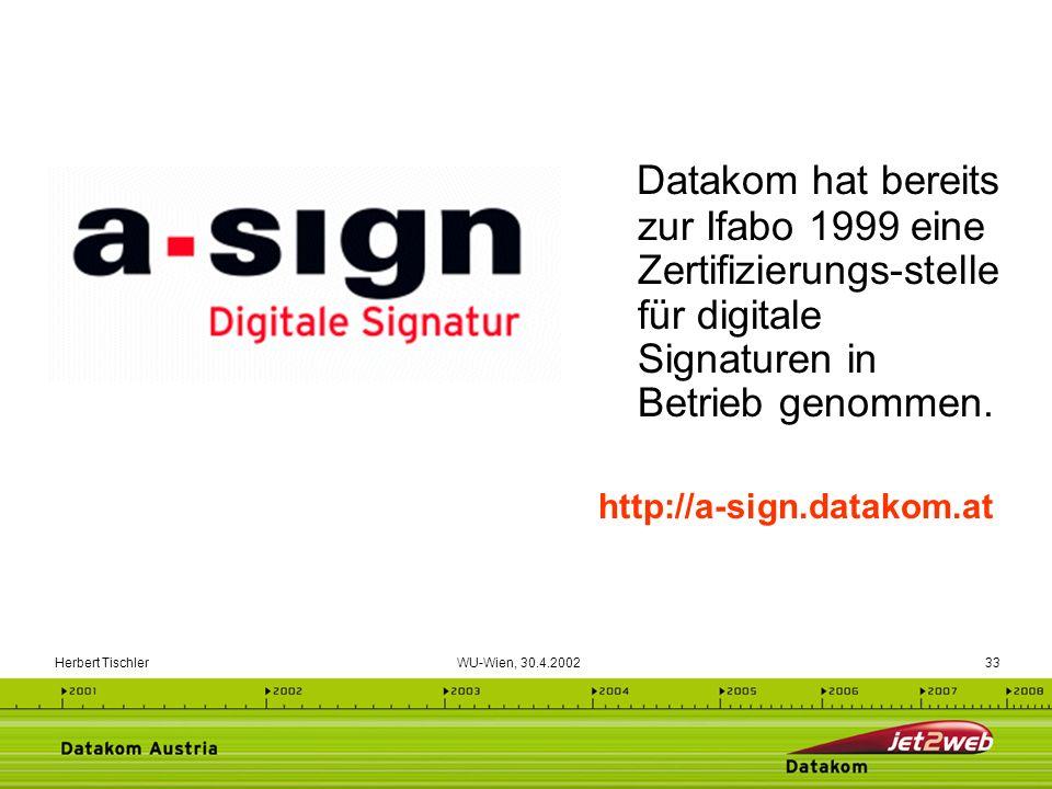 Herbert Tischler WU-Wien, 30.4.200233 Datakom hat bereits zur Ifabo 1999 eine Zertifizierungs-stelle für digitale Signaturen in Betrieb genommen. http