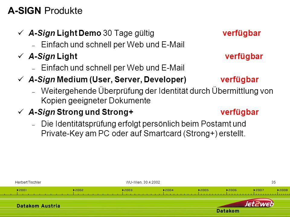 Herbert Tischler WU-Wien, 30.4.200235 A-Sign Light Demo 30 Tage gültig verfügbar – Einfach und schnell per Web und E-Mail A-Sign Light verfügbar – Ein