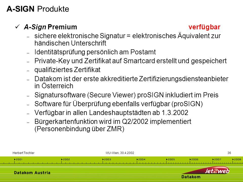 Herbert Tischler WU-Wien, 30.4.200236 A-Sign Premium verfügbar – sichere elektronische Signatur = elektronisches Äquivalent zur händischen Unterschrif