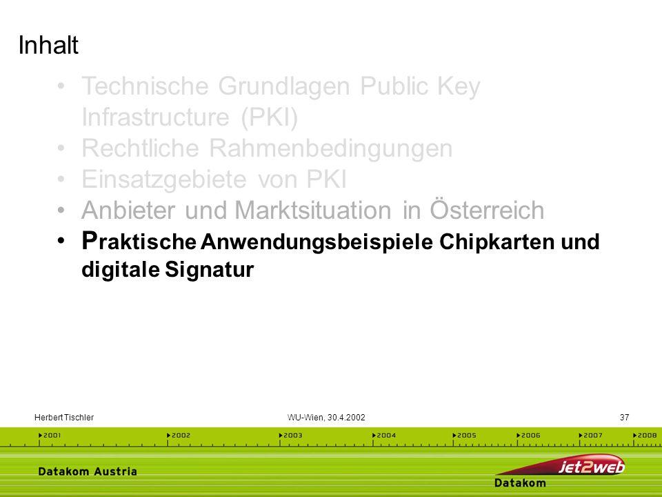 Herbert Tischler WU-Wien, 30.4.200237 Technische Grundlagen Public Key Infrastructure (PKI) Rechtliche Rahmenbedingungen Einsatzgebiete von PKI Anbiet