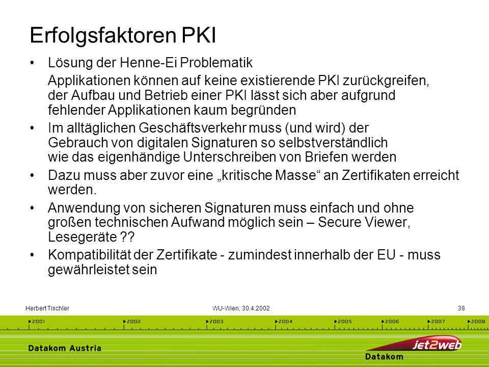 Herbert Tischler WU-Wien, 30.4.200238 Erfolgsfaktoren PKI Lösung der Henne-Ei Problematik Applikationen können auf keine existierende PKI zurückgreife