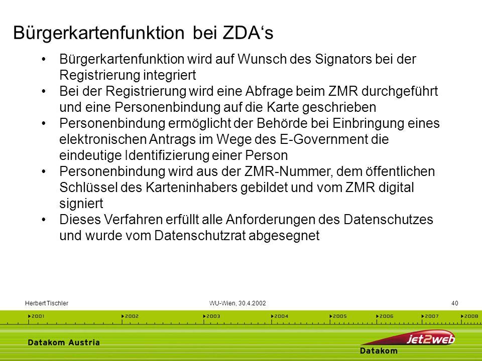 Herbert Tischler WU-Wien, 30.4.200240 Bürgerkartenfunktion wird auf Wunsch des Signators bei der Registrierung integriert Bei der Registrierung wird e