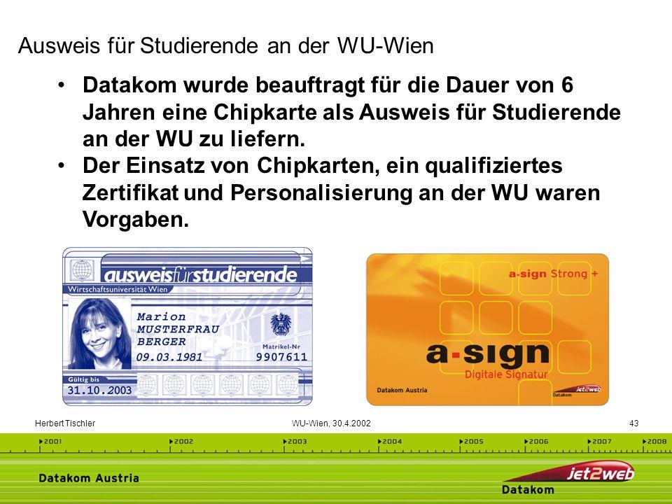 Herbert Tischler WU-Wien, 30.4.200243 Datakom wurde beauftragt für die Dauer von 6 Jahren eine Chipkarte als Ausweis für Studierende an der WU zu lief