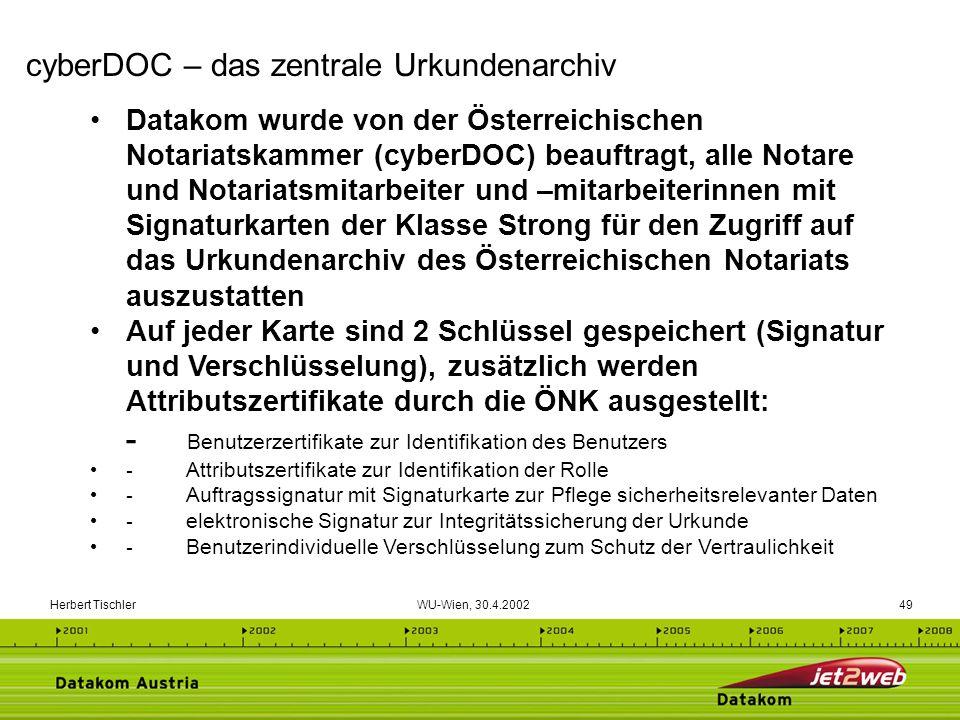 Herbert Tischler WU-Wien, 30.4.200249 Datakom wurde von der Österreichischen Notariatskammer (cyberDOC) beauftragt, alle Notare und Notariatsmitarbeit