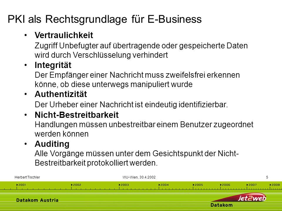 Herbert Tischler WU-Wien, 30.4.200226 Eine sichere elektronische Signatur basiert demzufolge auf einem qualifizierten Zertifikat (z.B.