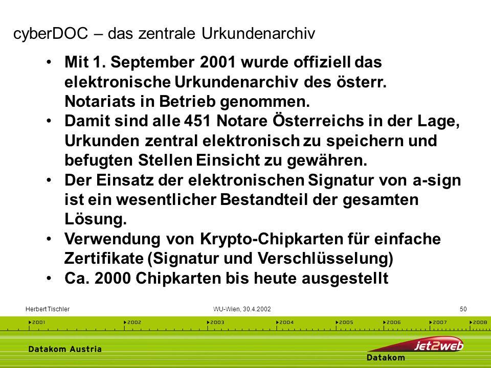Herbert Tischler WU-Wien, 30.4.200250 Mit 1. September 2001 wurde offiziell das elektronische Urkundenarchiv des österr. Notariats in Betrieb genommen