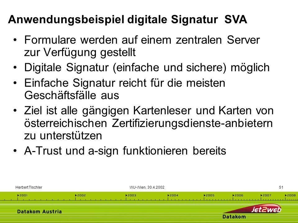 Herbert Tischler WU-Wien, 30.4.200251 Formulare werden auf einem zentralen Server zur Verfügung gestellt Digitale Signatur (einfache und sichere) mögl