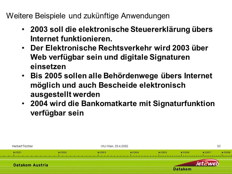 Herbert Tischler WU-Wien, 30.4.200253 2003 soll die elektronische Steuererklärung übers Internet funktionieren. Der Elektronische Rechtsverkehr wird 2