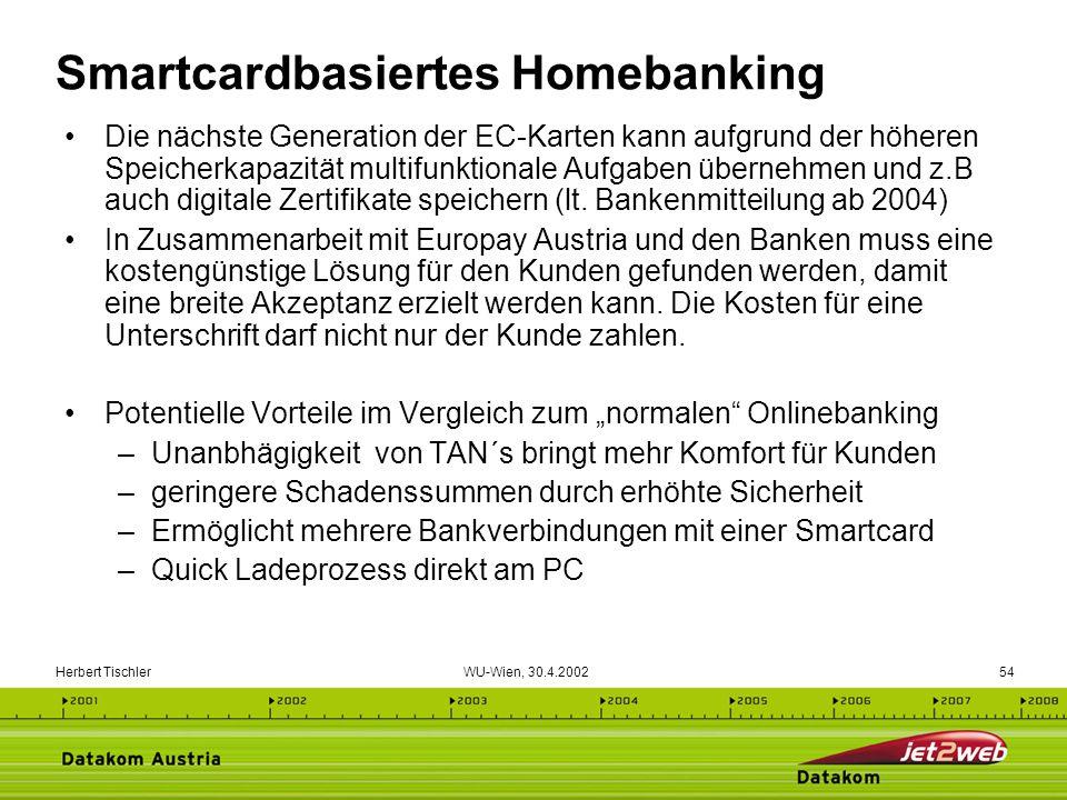 Herbert Tischler WU-Wien, 30.4.200254 Smartcardbasiertes Homebanking Die nächste Generation der EC-Karten kann aufgrund der höheren Speicherkapazität