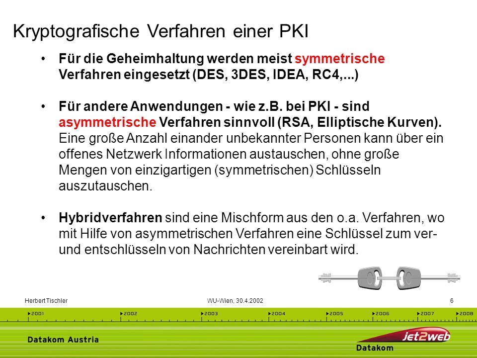 Herbert Tischler WU-Wien, 30.4.20027 Privater Schlüssel Geheimer Teil des Schlüsselpaares Dient zur Entschlüsselung einer Nachricht Wird von Anwender erzeugt Wird niemals weitergegeben Kann aus öffentlichem Teil des Schlüsselpaares nicht errechnet werden Öffentlicher Schlüssel Öffentlicher Teil des Schlüsselpaares Vom Sender wird der öffentliche Schlüssel des Empfängers zur Verschlüsselung verwendet Soll veröffentlicht werden Ist Teil eines digitalen Zertifikates Was mit einem Teil des Schlüsselpaares verschlüsselt wurde, kann nur mit dem dazugehörigen anderen Teil entschlüsselt werden.