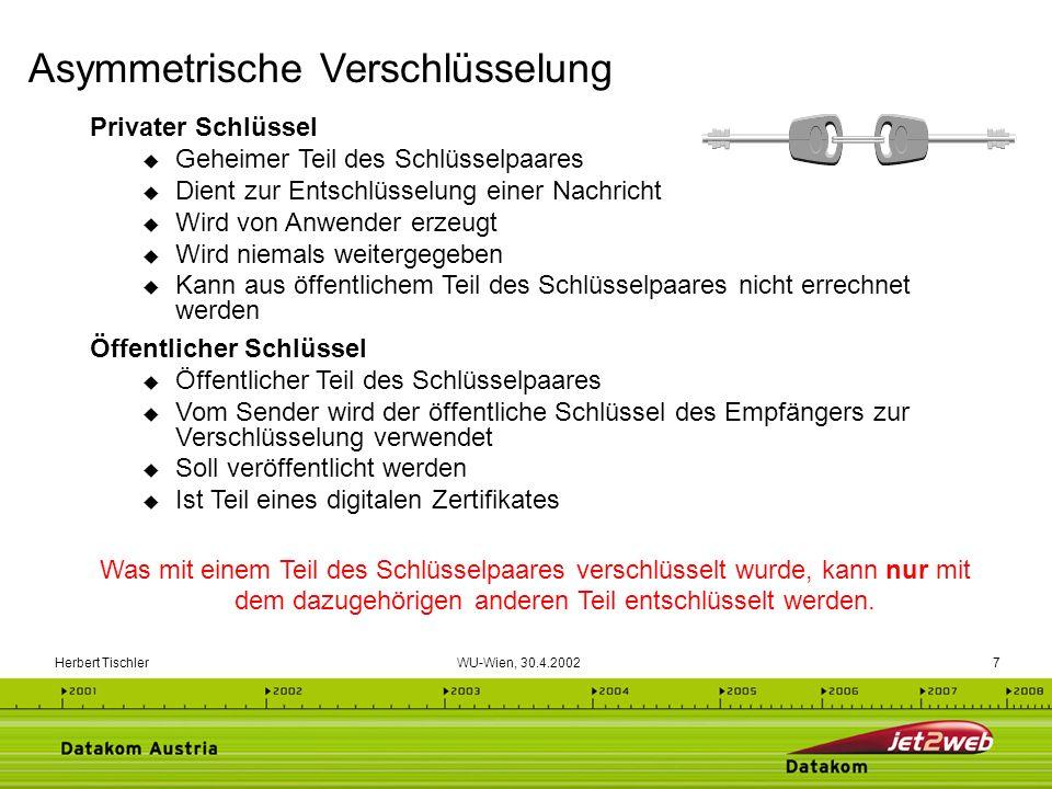 Herbert Tischler WU-Wien, 30.4.200248 Im Datennetz der Medizin DaMe werden einfache Zertifikate (Software) für die gesicherte und authentische Befunddatenübermittlung eingesetzt (digitale Signatur und Verschlüsselung) Mehr als 1200 Ärzte sind angeschlossen und setzen Signaturen für die sichere Kommunikation ein.